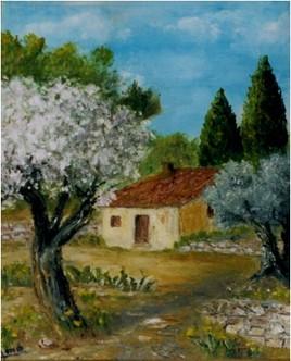 Peinture Le cabanon à la belle saison.