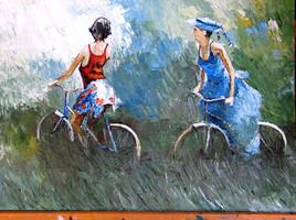 Peinture femmes en velo
